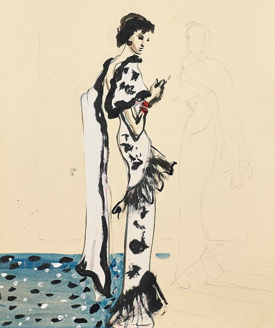 Maison Schiaparelli | Illustration of a Schiaparelli dress Christian Bérard | nuncalosabre | arte | fashion